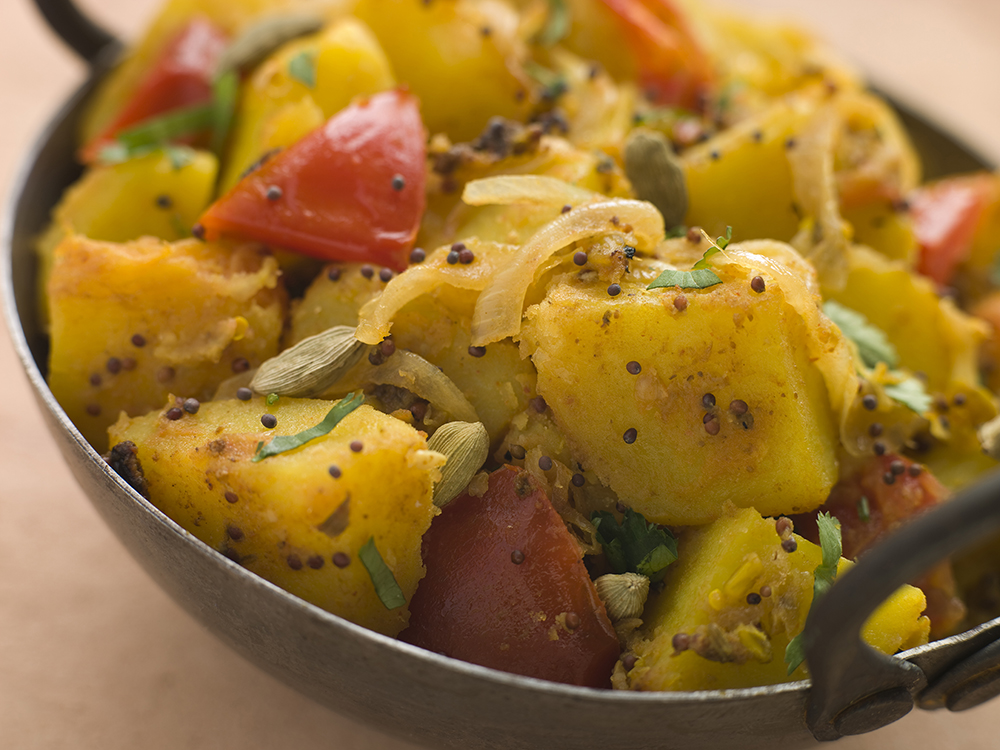 Empty the fridge - Bombay potatoes