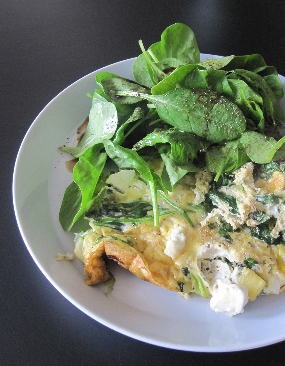 Empty the fridge - Fritatta met feta en spinazie