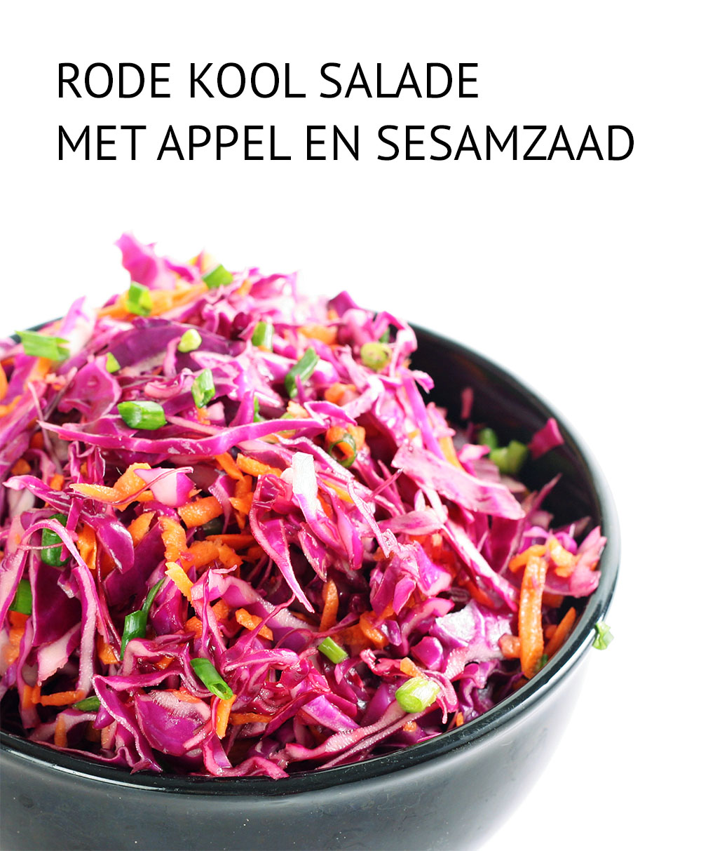 Empty the Fridge - Rode kool salade met appel en sesamzaad