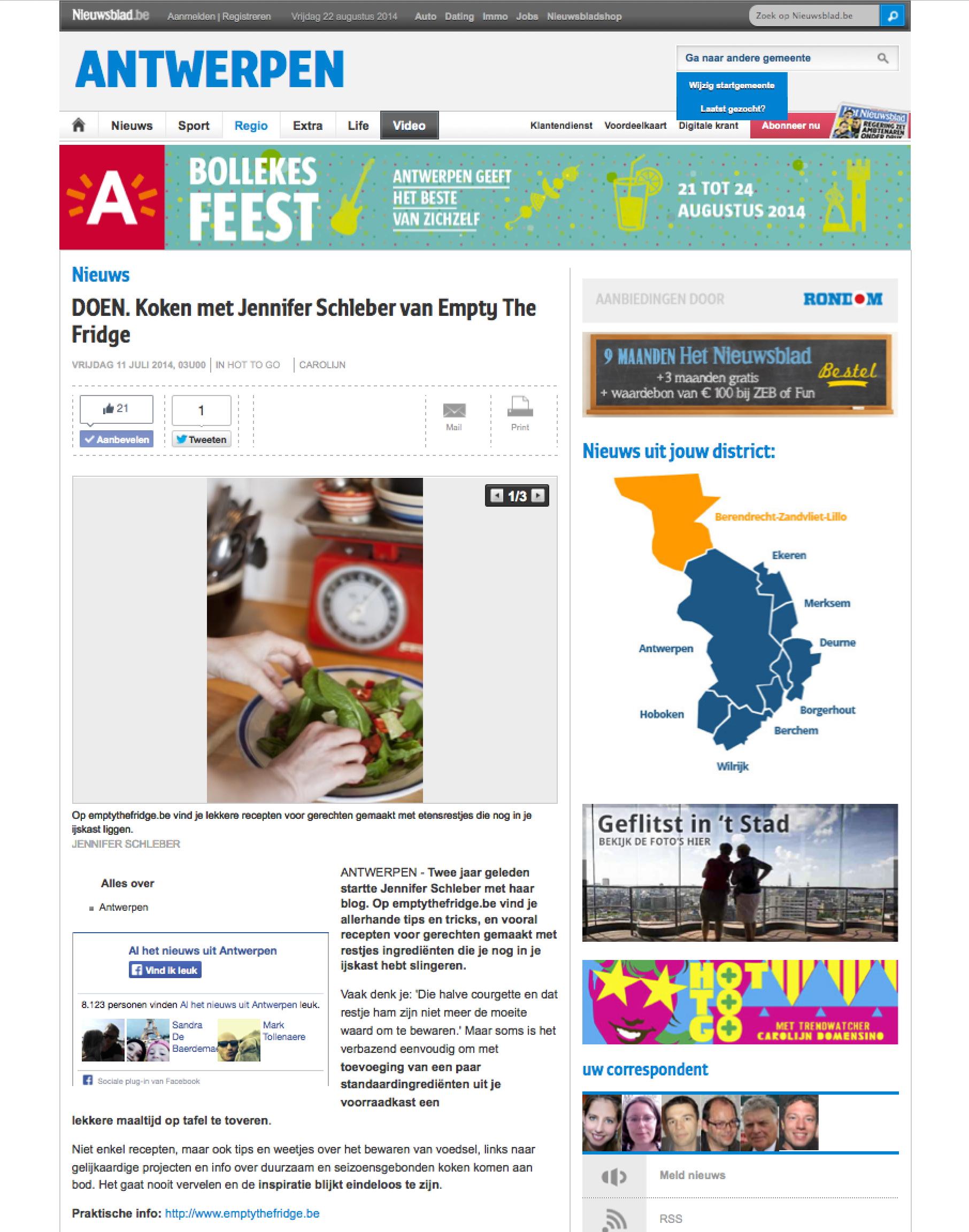 Empty the Fridge op nieuwsblad.be 11-07-2014