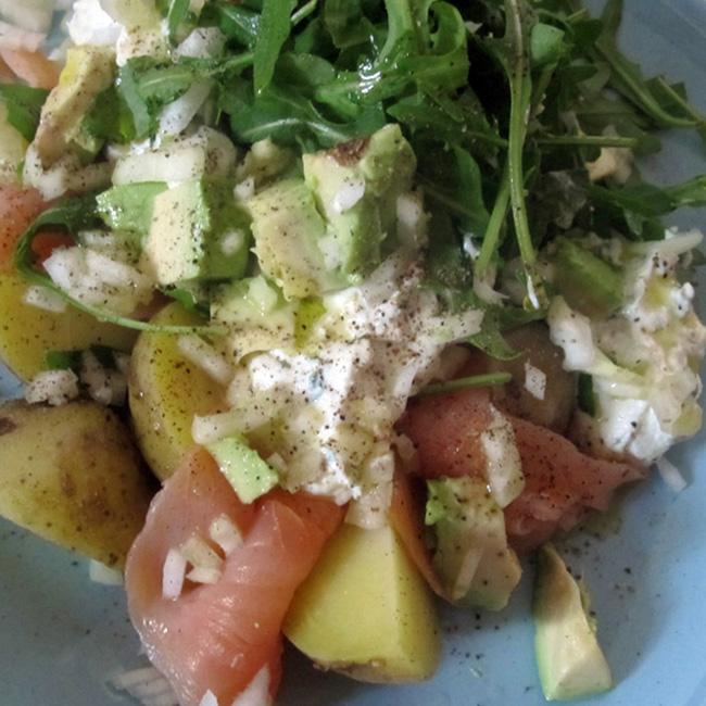 Empty the fridge - Gerookte zalm ricotta aardappeltjes