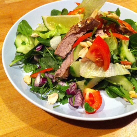 Empty the fridge - Thai beef salad