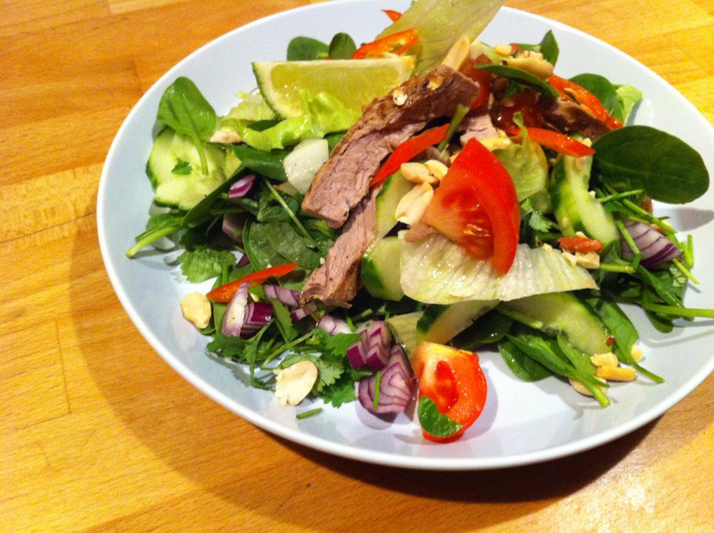 Empty the fridge - Thai beef salad