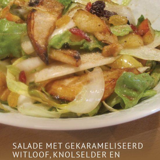 Empty the Fridge - Salade met gekarameliseerd witloof knolselder en appeltjes