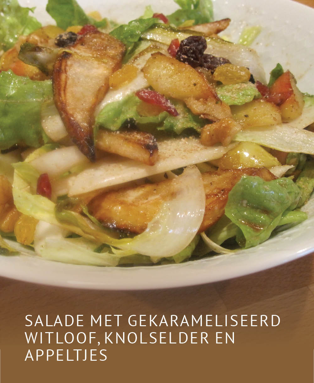 Empty the Fridge - Salade met gekarameliseerd witloof knolselder en appeltjes