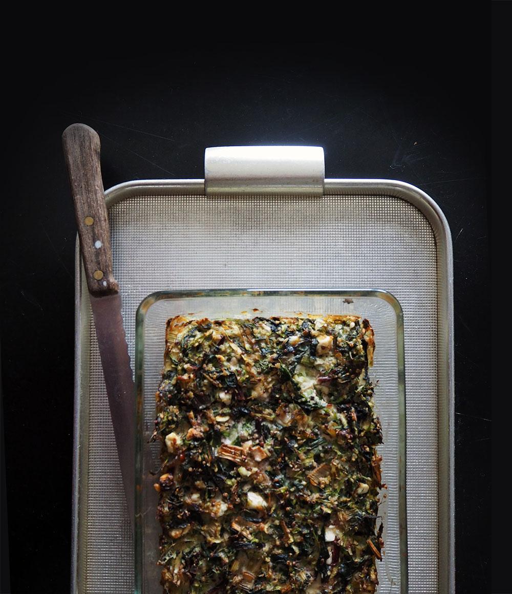 Empty the Fridge - Gratin van bladgroenten kruiden en rijst