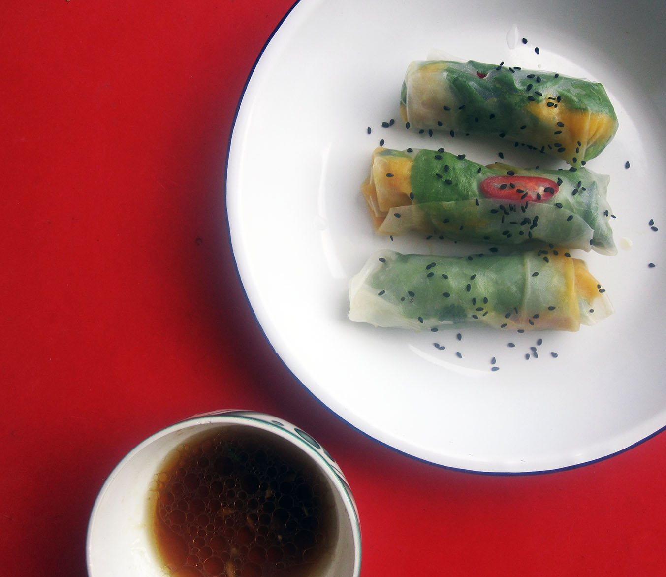 Empty the Fridge - Vietnamese lenterolletjes met mango en kruiden