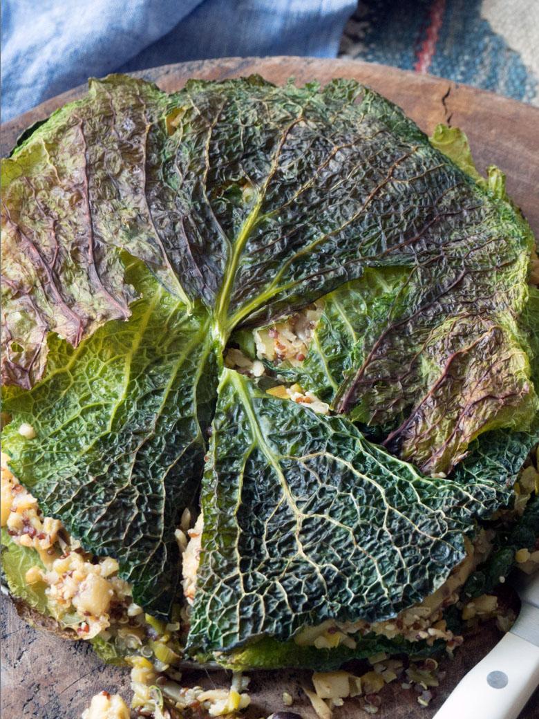 Empty the Fridge - Kooltaart gevuld quinoa, pastinaak en champignons