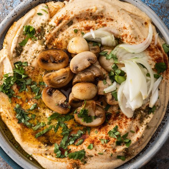 Empty the Fridge - Hummus met champignons